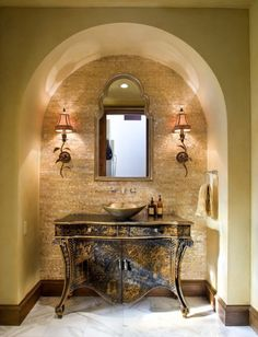 I really like this vanity/vessel sink and the arched ceiling.  I want this for the basement his/hers wash area.