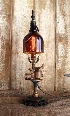 Vintage Industrial Style Table Lamp Rustic Brown by AnvilIndustrik