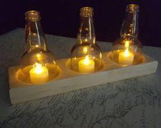 Decoración de mesa de luz de té votivas triple fabricado a mano.