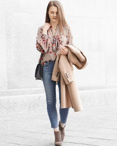 A Little Detail - Spring Fashion // Camel Coat // Floral Blouse // High Waist Skinny Jeans // Brown Ankle Boots // #springfashion #fallfashion #winterfashion #floralblouse #camelcoat #outfit #skinnyjeans #ankleboots #fashion