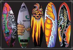 surfboard art hot - acrylic on surfboards Surfboard Painting, Surfboard Art, Surfboard Shapes, Surf Design, Dog Design, Design Art, Best Surfboards, Custom Surfboards, Skateboard Art