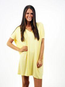 Yellow Short Sleeve V Neck Tunic