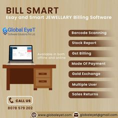"""GlobalEyet Software Solutions provides you with the best and user-friendly jewellery Billing and accounts Software for every and any jewellery wholesaler, Bullion Dealers, jewellery Retailers, Jewellery Manufacturer and more, conserving your Accounts and Inventory with Barcode. """"Grow your business with our Jewellery POS Software"""" Contact US:+91 8078 579 202"""