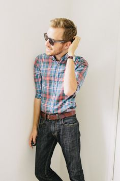 Want to pull off the tucked-in button-down look.