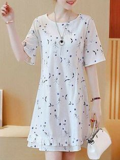 Floral Printed Round Neck Ruffle Trim Skater Dress Buy Floral Printed Round Neck Ruffle Trim Skater Dress online with cheap prices and discover fashion Skater [. Backless Maxi Dresses, White Maxi Dresses, Simple Dresses, Casual Dresses, Fashion Dresses, Skater Dresses, Dresses Dresses, Cheap Dresses, Homecoming Dresses