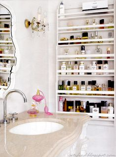 * Love the idea of displaying toiletries in shelving originally intended for plates