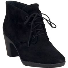 Clarks Women's Lucette Drama Ankle Boot ($120) ❤ liked on Polyvore featuring shoes, boots, ankle booties, heels, ankle boots, black, black suede, heeled booties, short black boots and lace up ankle boots