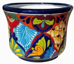 Talavera Flama Cylinder Traditonal Pattern Blue Rim Hand Painted & Imported from Mexico Painted Clay Pots, Hand Painted, Talavera Pottery, Metal Garden Art, Textiles, Pottery Designs, Terracotta Pots, Garden Planters, Flower Pots