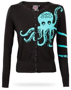 Thinkgeek.com...This Octopus Cardigan is for two-armed lifeforms, specifically humanoid. It is 100% cotton black colored cardigan with green Octopus design. $50