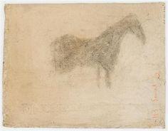 Georges Seurat - Silhouette d'un cheval, de profil à droite