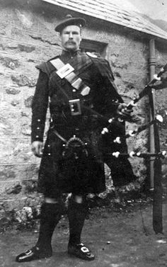 Old Photograph Bagpiper Kingussie Scotland...what a handsome man with a fine moustache.