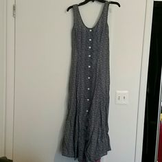 Spring dress Calf length blue and white button down spring dress tapered on sides size 7/8 have slit as high as you like Express Dresses Maxi