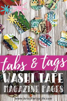 Tips and ideas for how to make tags and tabs for your junk journals or mini albums using craft supplies you have laying around and scrap papers! These are super cute for adding a pop of colorful ephemera to your projects! Adult Crafts, Washi Tape, Artsy Fartsy, Mini Albums, Ephemera, Embellishments, Journal, Magazine, Tags