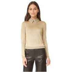 alice + olivia Dia Collared Metallic Sweater (19,360 PHP) ❤ liked on Polyvore featuring tops, sweaters, gold, sequin top, sequin sweater, alice olivia sweater, metallic sweater and sequin collar top