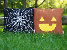 Jax the Jack o Lantern Pumpkin Pillow Cover by BubbleGumDish, $40.00 #Halloween #Jackolantern #Pumpkin #Fall #HalloweenDecor #HalloweenParty #Jack #PumpkinPIllow #HalloweenPillow #Autumn #Spiderweb #Orange #TrickorTreat