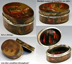 RARE Antique Vernis Martin 1700s Table Snuff, Etui - Marie-Antoinette, tortoise shell interior.
