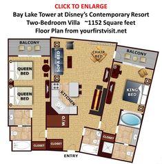Floor Plan Two Bedroom Villa Bay Lake Tower from yourfirstvisit.net