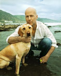 Photo of Bruce Willis & his  Dog