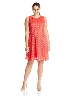 Tiana B Womens PlusSize Sleeveless Circle Crochet Lace Dress Coral 14W ** More info could be found at the image url.