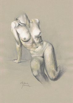 ORIGINAL DRAWING - Female nude 21 by Milena Gawlik, pencils on grey paper, artistic drawing of a sitting naked woman