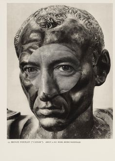 """Caesar 17 - For each work, Odires Mlászho takes an image from Phaidon's 1945 book Roman Portraits, consisting of fullpage black-and-white photographs of Roman portrait busts, and superimposes cut out eyes from Paul Swiridoff 's 1960s photographs of German politicians. When printed, the two images lock together almost seamlessly, creating what Surrealist collagist Max Ernst called """"a spark of poetry""""."""