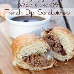 Slow Cooker French Dip Sandwiches #recipe via Let's Dish http://www.yummly.com/recipe/Slow-Cooker-French-Dip-Sandwiches-1305771