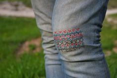 How to repair a tear in your jeans with embroidery.