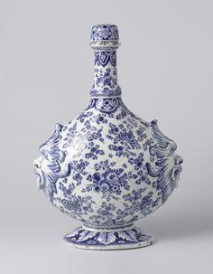 Pelgrimsfles met schroefdop - plateelbakkerij: De Metaale Pot (plateelbakkerij) Eenhoorn, Lambertus van (eigenaar plateelbakkerij), c.1690-1715