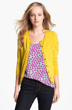 Halogen Three Quarter Sleeve Cardigan available at #Nordstrom @$46.00 Love it with the colorful shirt