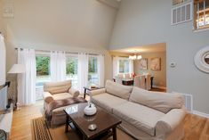 Gorgeous living room and dining room with new patio doors and windows we installed  . . . . . . . . . . . .  Home Remodeling / Home Improvement / Renovation / Windows and Doors from Renewal by Andersen Long Island