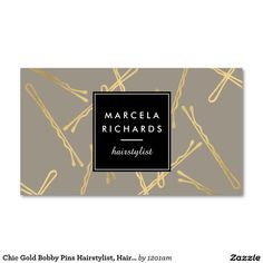 Chic Gold Bobby Pins Hairstylist, Hair Salon III Double-Sided Standard Business Cards (Pack Of 100)
