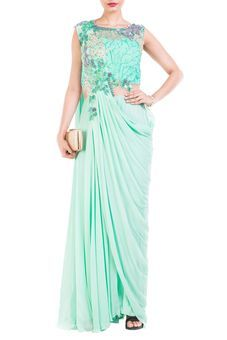 Aquamarine Draped Jumpsuit Saree by Anushree Agarwal, Sarees with Blouses   #ethnicwear #indianwear #ethnic #indian #indiandress #colourful #traditional #wedding #reception #shaadi #sangeet #mehendi #design #fashion #occasion #occasionwear #glitstreet #indowestern #modern #gown #receptionparty #anniversaryparty