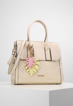 """LYDC London. L8709 - Handbag - cream. Fastening:Zip. Compartments:mobile phone pocket. length:13.0 """" (Size One Size). width:4.5 """" (Size One Size). Lining:textile. carrying handle:5.5 """" (Size One Size). Fabric:Synthetic leather. Outer m..."""