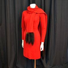1960s Dress / Lilli Diamond A Minx Tale Red Bombshell Wiggle Dress with a Fur Tail Wrap