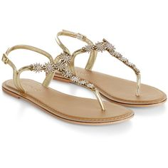 Accessorize Starry Flip Flops ($68) ❤ liked on Polyvore featuring shoes, sandals, flip flops, flats, momma shoes, ankle wrap flat sandals, ankle tie sandals, metallic sandals, embellished sandals and sparkly flat sandals