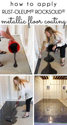 How to apply Rust-Oleum RockSolid Metallic Garage Floor Coating. Step by step photo tutorial makes this an easy DIY process How to apply Rust-Oleum RockSolid Metallic Garage Floor Coating. Step by step photo tutorial makes this an easy DIY process Garage Floor Finishes, Garage Floor Coatings, Garage Flooring, Paint Garage Floors, Garage Epoxy, Painting Basement Floors, Rustoleum Garage Floor Epoxy, Basement Floor Paint, Painting Concrete Floors
