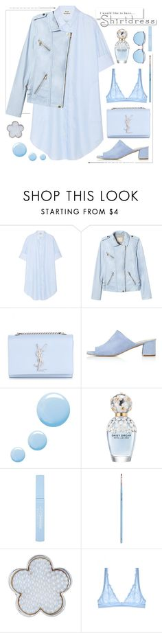 """""""Shirtdress"""" by piponguyen ❤ liked on Polyvore featuring Acne Studios, Rebecca Taylor, Yves Saint Laurent, Topshop, Marc Jacobs, My Kit Co., Lagos, Cosabella, White Label and shirtdress"""