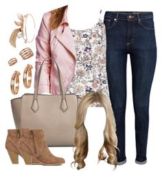 """Alison Dilaurentis inspired outfit with a light pink jacket"" by liarsstyle ❤ liked on Polyvore featuring H&M, Dorothy Perkins, Blanc Noir, MANGO, Anne Klein, Humble Chic, Topshop, college and mid"