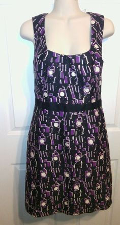 Milly of New York dress  size 8 purple blue white sleeveless zip lined career   #Milly #Shift #WeartoWork