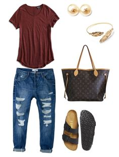 """""""School outfit"""" by pookiemorehead on Polyvore featuring Birkenstock, Minor Obsessions, MANGO, Lucky Brand, Chanel and Louis Vuitton"""