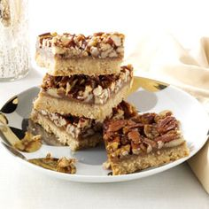 Honey-Pecan Squares Recipe from Taste of Home -- shared by Lorraine Caland of Shuniah, Ontario