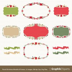 Christmas Wreaths & Frames Clipart. Christmas by Graphikcliparts