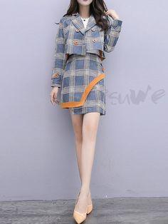 #ファッション通販 #Fashion Doresuweチェック柄コート非対称韓国風スカートレディースファッションコーデ綺麗パーティー 優雅おしゃれセットアップ 商品番号:13766544 Kpop Fashion Outfits, Korean Outfits, Fashion Dresses, Fashion Clothes, Quirky Fashion, Cute Fashion, Pretty Outfits, Stylish Outfits, Korean Girl Fashion