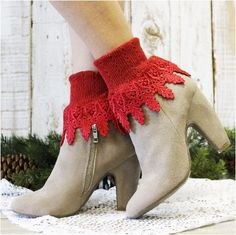 SIGNATURE lace socks - red