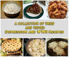 """A Collection Of Tried And Tested Depression and WWII Recipes One of the ways folks seemed to get by back in the day was because they learned to """"make do, or do without."""" They learned to make a meal out of whatever was on-hand, even if it meant finding a use for stale bread or wrinkled, old vegetables. No matter what, nothing went to waste.Necessity was the mother of invention for these creative cooks and they came up with soups, stews and casseroles that used every single morsel of food…"""