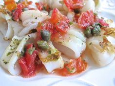 Calamari is a healthy food choice, assuming you don't batter and fry it.  Try this method of sautéing, topping it with a fresh tomato caper salsa for  an equally satisfying, and even more beneficial preparation for your body.