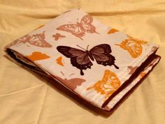 Butterflies on cream Receiving Blanket Double Sided Over sized  | bitspeaces - Children's on ArtFire