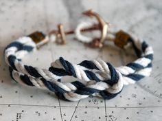 ACK Latitude Triton Knot sailing bracelet from Kiel James Patrick Nautical Knots, Nautical Bracelet, Nautical Jewelry, Nautical Style, Nautical Clothing, Anchor Bracelets, Rope Bracelets, Nautical Colors, Anchor Jewelry