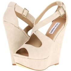 """Steve Madden Wedges Taupe heels. Approx. heel height: 5"""" with 1 3/4"""" platform (comparable to a 3 1/4"""" heel) Adjustable strap with buckle closure. Synthetic upper, lining and sole. By Steve Madden; imported. Steve Madden Shoes Wedges"""