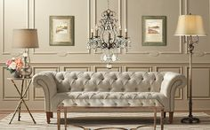 Shop our home furnishings sale and save up to on French-style furniture, lighting and decor. Furniture Decor, Furniture Design, Selling Furniture, Chesterfield Chair, French Style, Beautiful Interiors, Decoration, Home Furnishings, Architecture Design